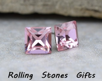 8mm Light Rose Vintage Swarovski Square Rhinestone Stud Earrings-Light Rose Crystal Studs-Square Swarovski Studs-Handmade Studs