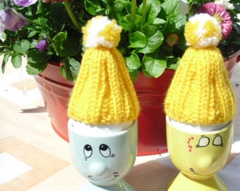 Yellow Knit Egg Cozy and pompon, set of 4, Easter Decoration - eggs decor , Egg Cozy, Easter Table Decoration,knitt egg,CHOOSE YOUR COLOR