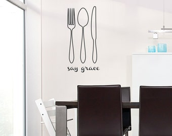 Say Grace Silverware Wall Quote Decal   Kitchen Wall Sticker, Silverware  Decal, Spoon Knife