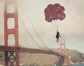 "San Francisco - 8x10 photograph - ""Floating over the Golden Gate"" - vintage photography - whimsical nursery art  - Golden Gate Bridge"