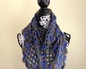 "Crochet Scarf Triangle Multicolor ""Ready to Ship"""
