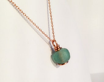 Green Glass Bead Pendant Necklace - Solid Copper - African Trade Glass