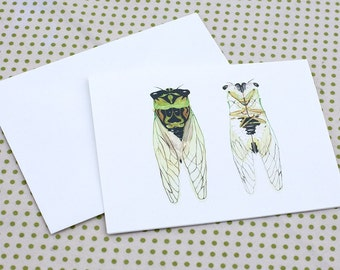 Cicada Notecards set of 6 blank cards with envelopes
