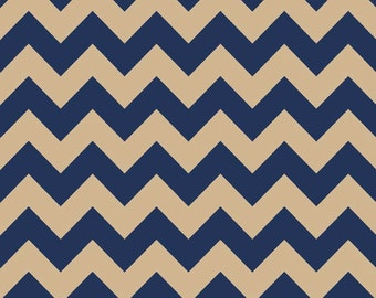 Medium Chevron Navy/Tan  by Riley Blake Designs -  1 Yard Cut - Chevron Fabric