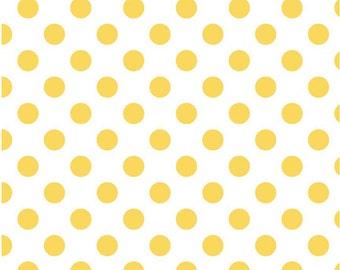 Medium Dots Yellow by Riley Blake Designs 1 Yard Cut - Dots Fabric