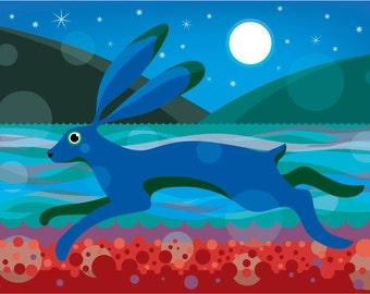 Hare illustration print
