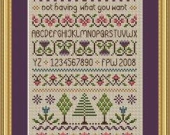 INSTANT DOWNLOAD Happiness Cross Stitch Sampler PDF Chart