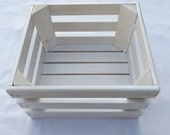Distressed White Wooden Storage Crate, Home Decor, Wedding Decor, Kitchen Decor