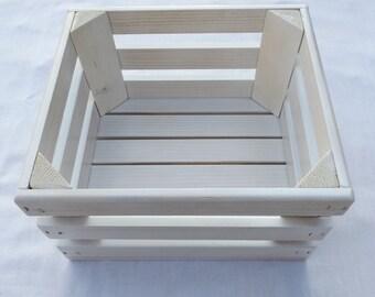 Distressed White Wooden Storage Crate, Home Decor, Wedding Decor, Kitchen Decor