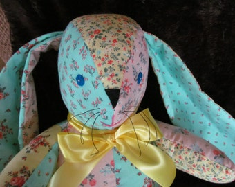 Soft & cuddly floppy eared bunny in pretty pastel floral prints