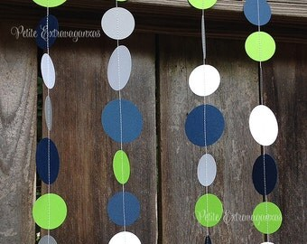 Paper Circle Garland- Lime Green, Navy Blue, Gray