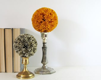 Yellow Paper Ball of Stars No5 - Origami Kusudama Ball on Vintage Silver Pedestal - Yellow Home Decor - Paper Sculpture - Modern Art Decor