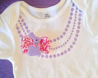 Cute Easter Spring baby girl gift Necklace one piece / bodysuit,lavender purple necklace,pretty pink bow and bunny,Great for Easter