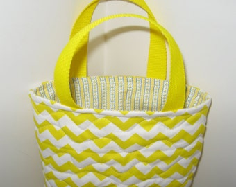 small yellow chevron tote bag,  quilted tote, eco firendly reusable Easter basket, small project knitting bag