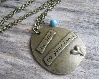 True to Your Heart Necklace, BRONZE, Self Esteem Necklace, Personalized Jewelry, Heart Jewelry, 24 inches, Choose Your Length