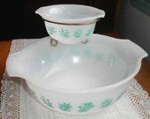 Vintage GlasBake Chip and Dip 2 Bowl Set + Brass Holder Mixing Bowls Aqua Herb Pattern