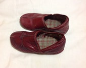 Vintage toddler red leather slippers