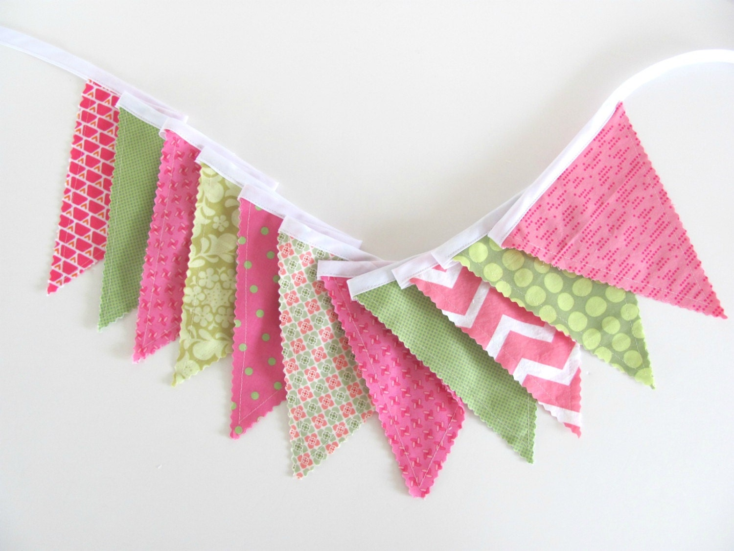 Bunting fabric banner flags baby girl nursery decoration mint for Baby girl fabric
