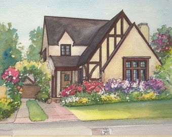 Watercolor House Drawing - Painting of your home with Ink detail - House portrait - Home rendering - custom watercolor painting