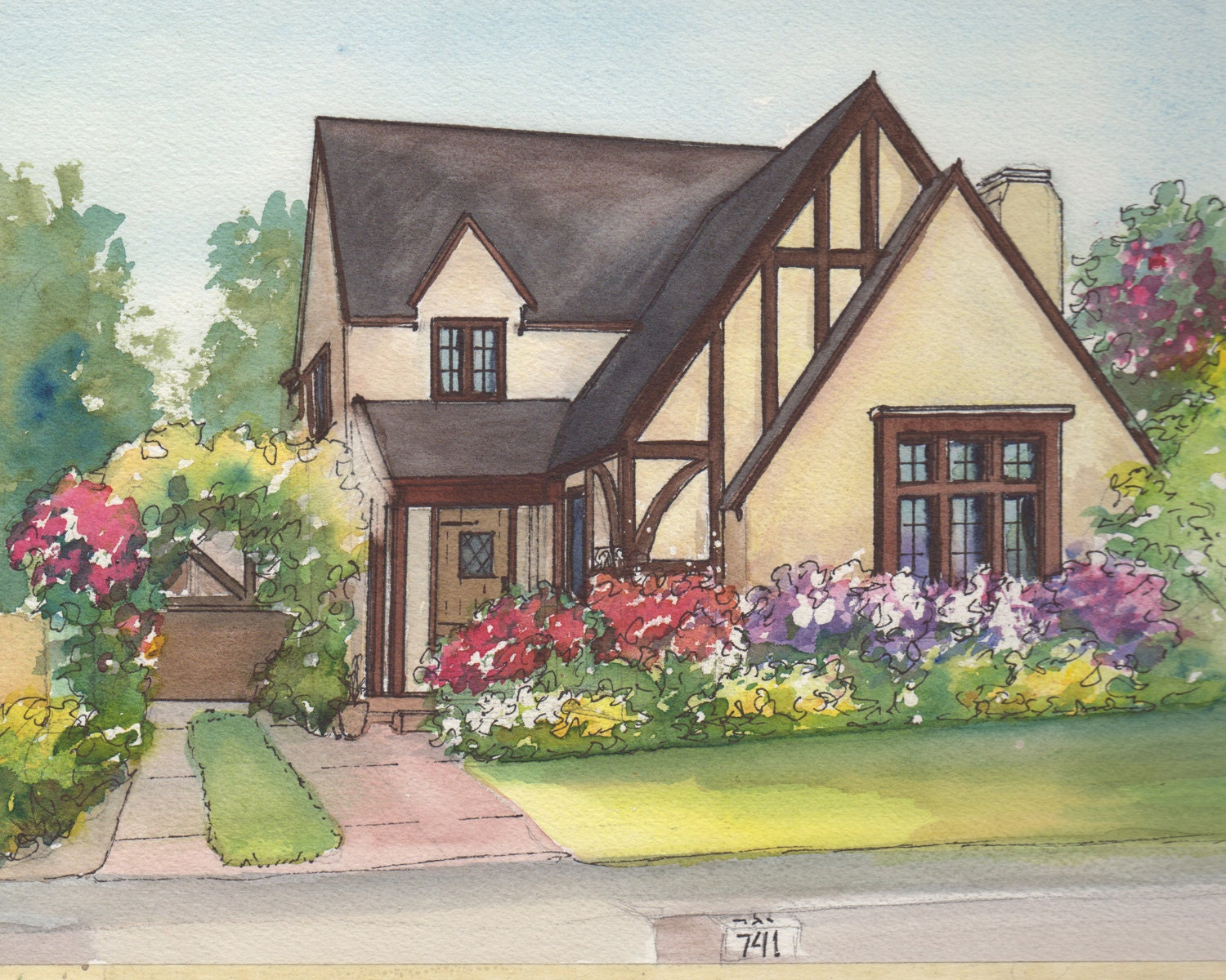 Watercolor house drawing painting of your home with ink Draw your house