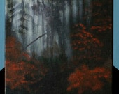An original acrylic painting entitled Morning Fog in the Forest