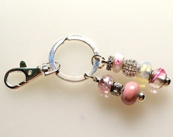 Feminine Pink Beaded Key Ring With Sparkle