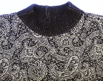 Vintage Metallic Dolman Mock Neck Slouchy Sweater