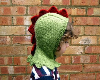 Knitted Dinosaur Hood, Green Dragon Hat, Spiky Dinosaur Balaclava, Toddler's Dragon Winter Hood, Toddler's Dragon Gift, Dinosaur T-Rex Gift