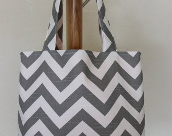 MEDIUM ash gray and white CHEVRON stripe zigzag Handbag/ Diaper Bag/ Purse/ Tote/ Beach Bag- Orange interior