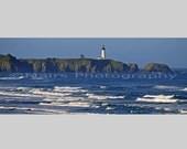 Ocean Lighthouse Waves Oregon Newport Yaquina Head, Beach House decor,  Panorama, Fine Art Photography signed matted Original Photograph