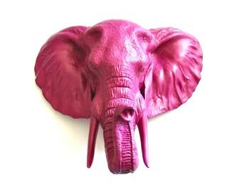 Faux Taxidermy LARGE Elephant Head in DEEP RASPBERRY wall mount wall decor safari animal head faux animal head wall hanging office wall deco