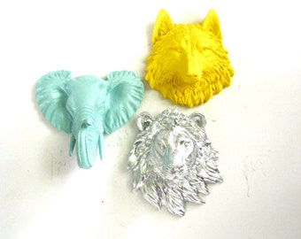 Set of 3 ANY color/color combination:  Choose from small wolf, bear, tiger, lion, elephant or zebra // nursery // office // faux animal head