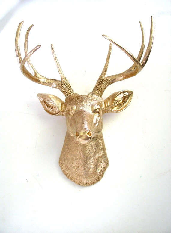 Gold Deer Head Faux Taxidermie wall hanging wall mount /mounted Deer / Deerman   / stag / fake deer head // nursery decor // office decor //