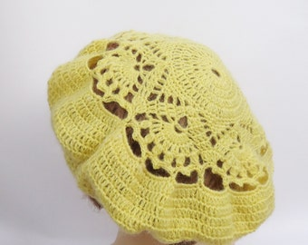Crochet Yellow Women Beret, Lace Beret, UK Seller