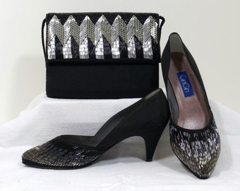CIN CIN Beaded Black Satin Heels and Matching Purse Size 7 M