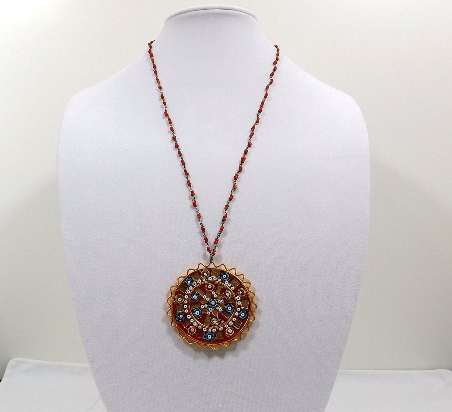 india bead necklace with mosaic pendant