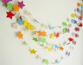 10ft or 20 ft Garland-Stars-Rainbow-Music Sheets-Nursery Decor-Boy-Birthday-Bunting-Decoration-Wedding Garland-Bright-Baby Shower-Engagement