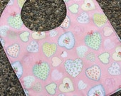 TODDLER or NEWBORN Bib: Hearts Tossed on Pink with Block Hearts on Back, Personalization Available