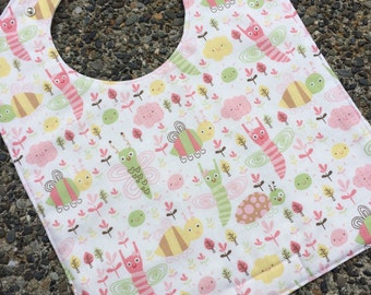 TODDLER BIB: Cutie Pie Bugs on White, Personalization Available