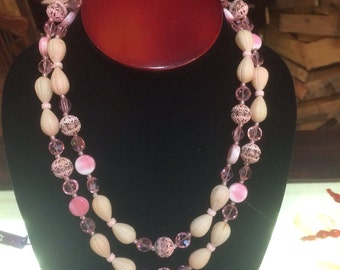 Vintage antique pink rose pink crystal double strand wedding bridal glamour necklace free shipping
