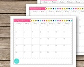 Printable 2015 Monthly Calendar  - January 2015 to December 2015