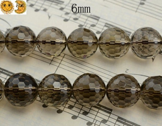 15 inch strand of Smoky Quartz faceted(128) round beads 6mm