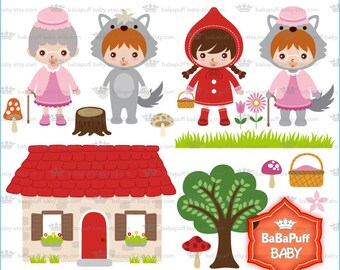 Red Riding Hood Insert Face DIY Clip Art, For Invitations Cards Making, Party Invites, Personal and Small Commercial Use ---- BB 0812