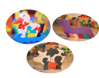 SET of 3  Wooden Puzzles for the special price. Colourful Wooden  Puzzle.Handmade kids toy. Wood ecofriendly  for children. Eco toy