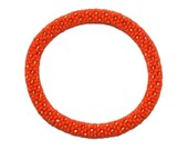Orange and Gold Beaded Bracelet, Czech Seed Beads, Crocheted in Nepal, NB96