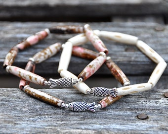 Be My Valentine | Pewter Fish Bead Bracelets by BeadRustic | FREE SHIPPING