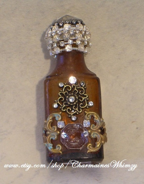 Antique Bottle Amber 1800's Repurposed Home Decor Collectible Vintage