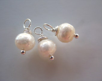 Faceted White Pearl Dangles, 5mm round pearls with sterling silver wire wrap. 3 dangles June Birthstone