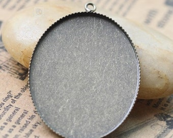 10PCS antique bronze 30x40mm oval edged bezel cup cabochon mountings pendant tray- W05733