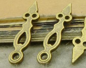 50PCS antique bronze 6x25mm clock hands charm pendant- WC5042